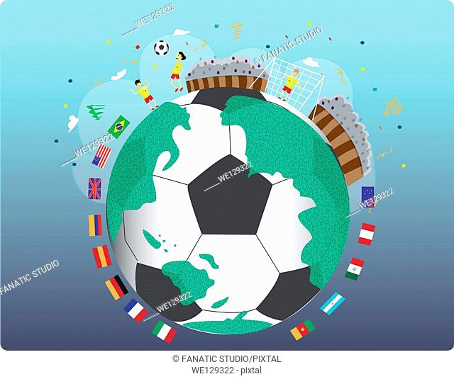 Illustrative image of various national flags around soccer ball representing national sports