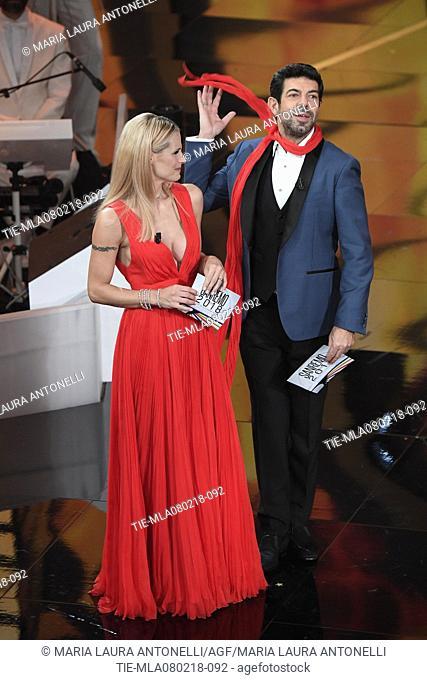 Michelle Hunziker, Pierfrancesco Favino at the 68th Sanremo Music Festival, Sanremo, ITALY-07-02-2018