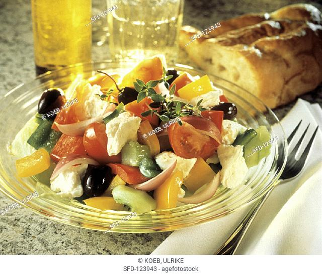 Greek Salad with Colorful Vegetables and Feta