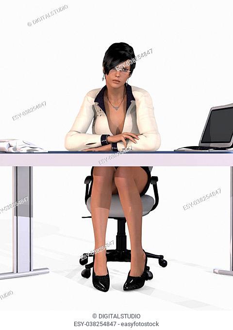 3D Render of an Sexy Secretary