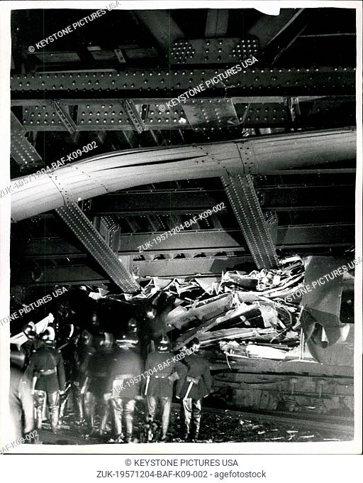 Dec. 04, 1957 - Tragic crash at Lewisham, London ? More than forty people feared to have lost their lives in the crash of as steam train from Cannon street to...