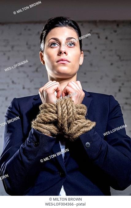 Constrained businesswoman