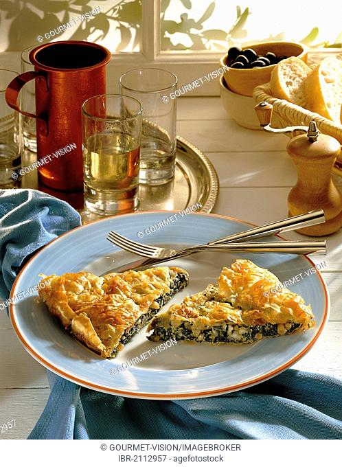Spinach pitta Patras, spinach seasoned with garlic, sheep cheese and pine nuts wrapped with crispy filo pastry, Greece