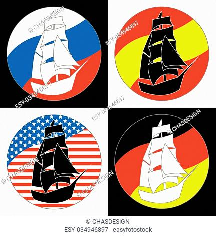 Vintage Ship Logo Sailing Boat design vector template. Ancient Pirate Sailboat Logotype silhouette concept icon. On the background of flags of countries: Russia