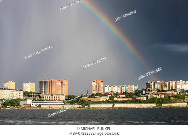 Rainbow over the skyline of Vladivostok, Russia