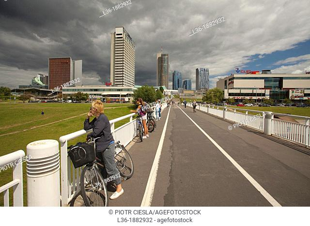 Lithuania, Vilnius, modern buildings of the Snipiskes area by the Neris River