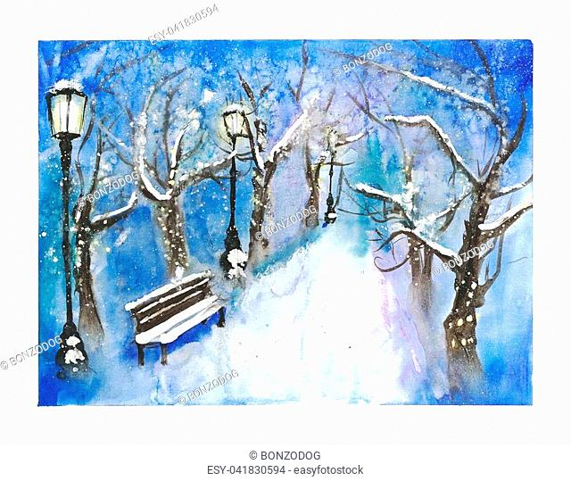 Snow-covered winter park view illustration, art work