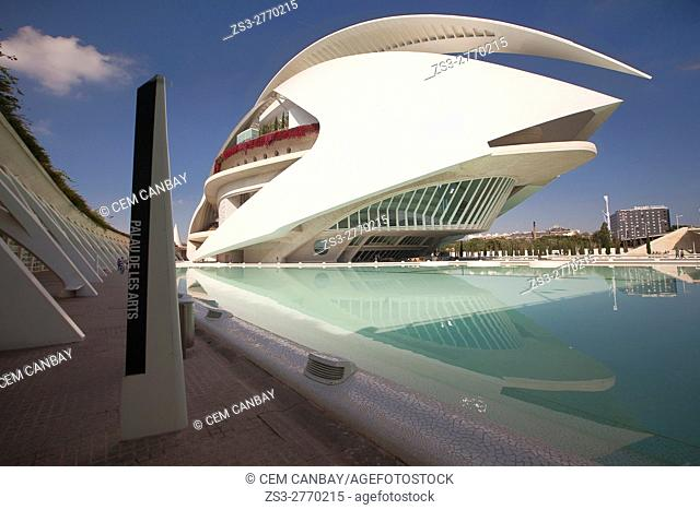 View to the the Palau de les Arts, City of Arts and Sciences, Valencia, Spain, Europe