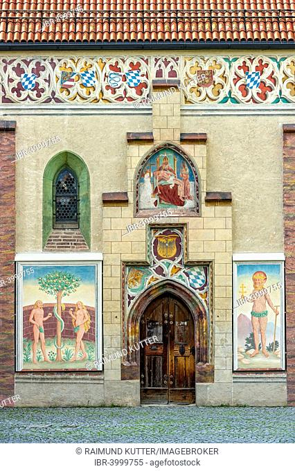 Coat of arms frieze, Gothic frescoes of Adam and Eve and St. Onuphrius, castle chapel in the courtyard of the former moated castle Schloss Blutenburg, Munich