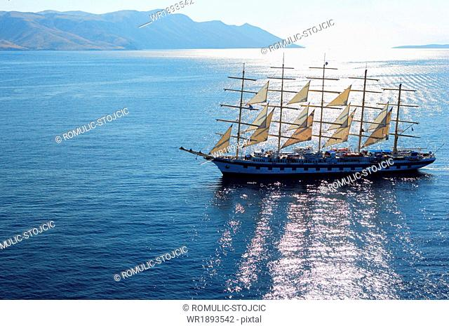 Sailing Ship, on Adriatic Sea, Hvar, Dalmatia, Croatia