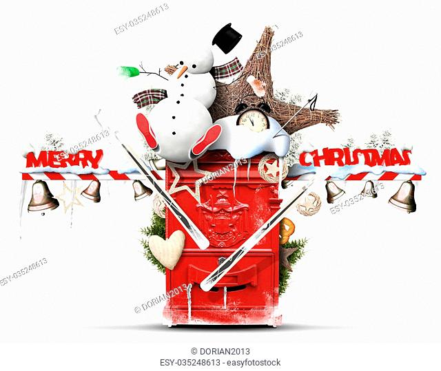 Christmas and New Year, the red mailbox with a snowman