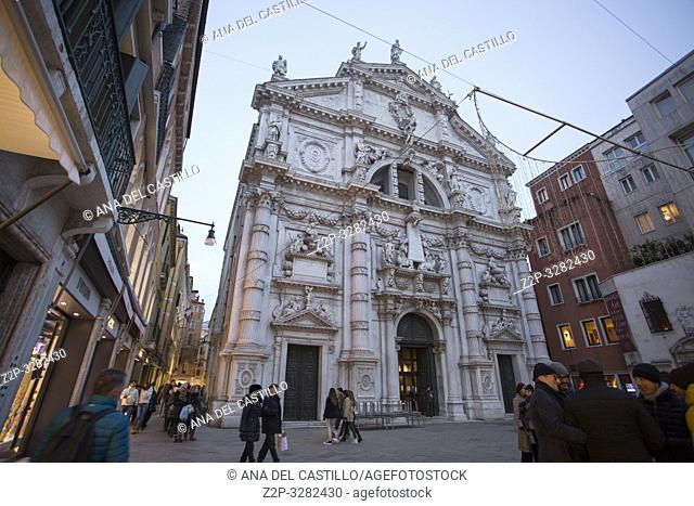 Venice Veneto Italy on January 19, 2019: St Moise church by twilight