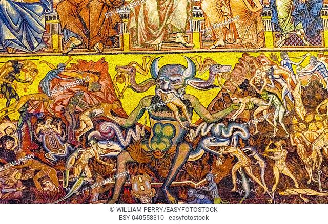 Devil Satan Eating Devouring Evil Sinners Mosaic Dome Bapistry Saint John Duomo Cathedral Church Florence Italy. Bapistry created 1050 to 1150
