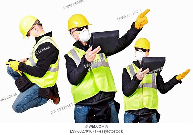 Contractor Poses Isolated on White. Three Different Contractor Poses