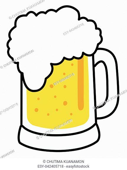 beer glass mug full golden color lager cold refreshment illustration