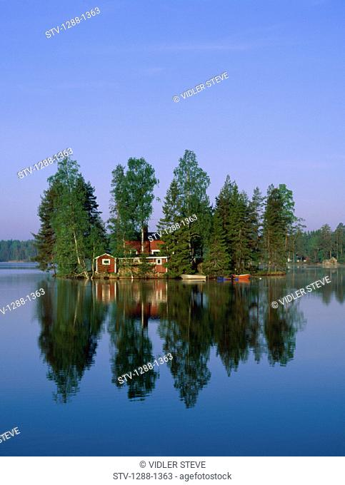 Holiday, Isolated, Lake, Landmark, Reflection, Scandinavia, Sweden, Europe, Tourism, Tranquil, Travel, Vacation