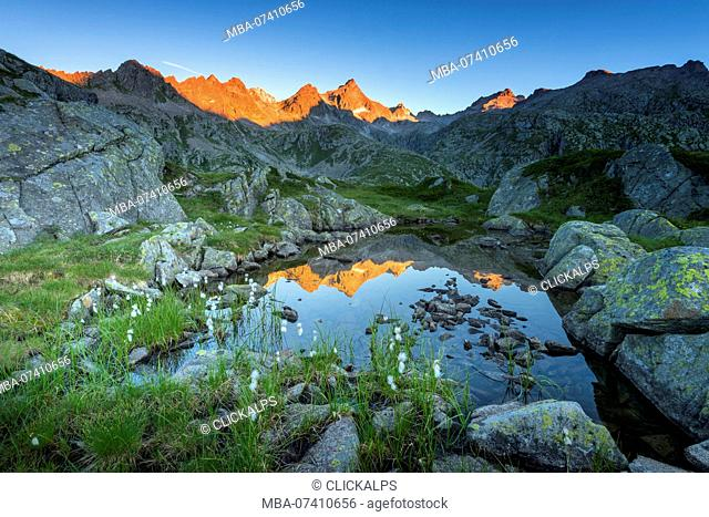 Cornisello mountain at sunrise Europe, Italy, Trentino, Nambrone Valley, Sant'Antonio of Mavignola