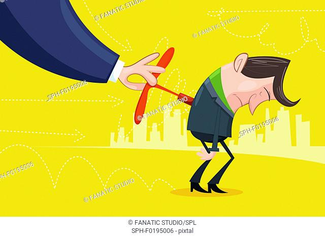 Illustration of businessman charging his subordinate