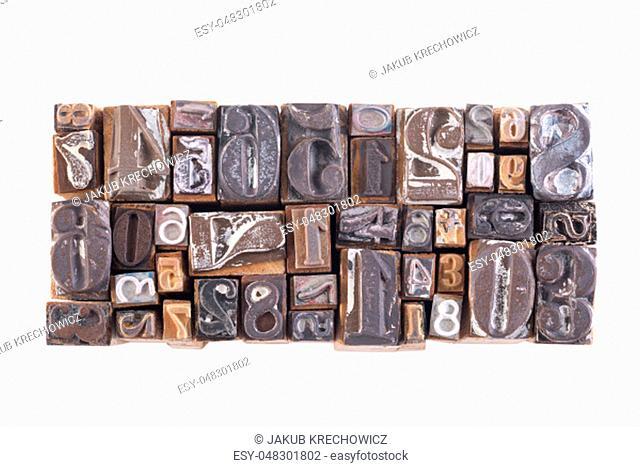 Old wooden block numbers isolated on white background