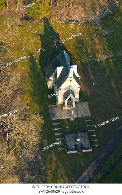 France, Meuse (55), Verdun, WWI battle fields, detroyed village of Beaumont en Verdunois, chapel (aerial view)