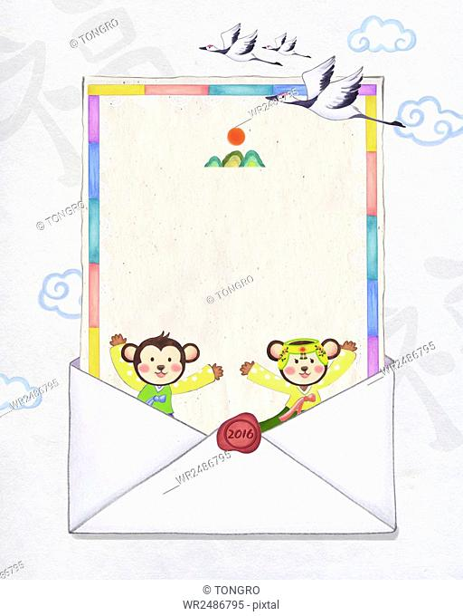 New year 2016 with monkeys in traditional Korean clothes and traditional Korean letter paper in envelope