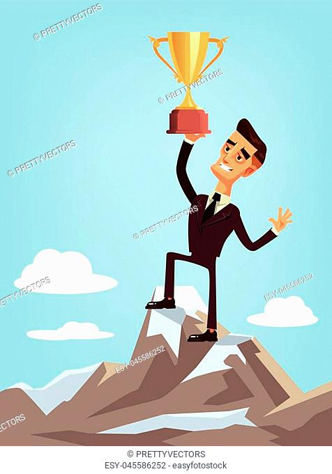 Happy smiling lucky winner businessman office worker character standing on mountain pick and holding golden cup. Successful business concept isolated flat...