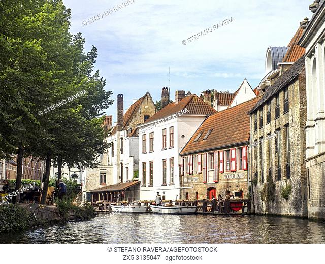 House facades facing the canal - Bruges, Belgium