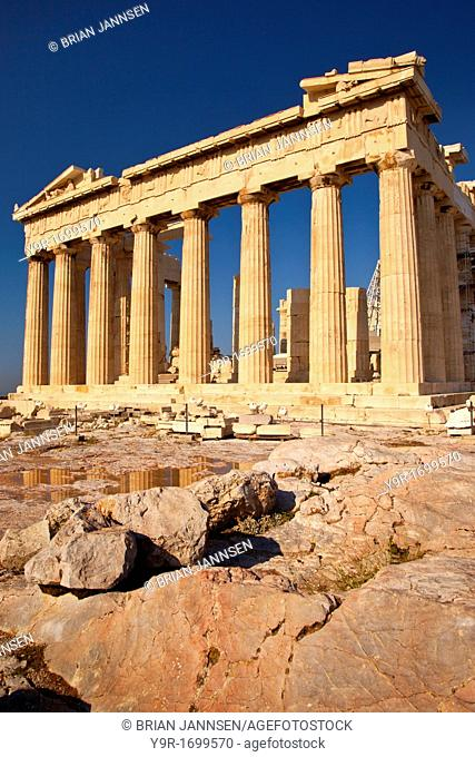 Marble ruins of the Parthenon on the Acropolis, Athens Attica Greece