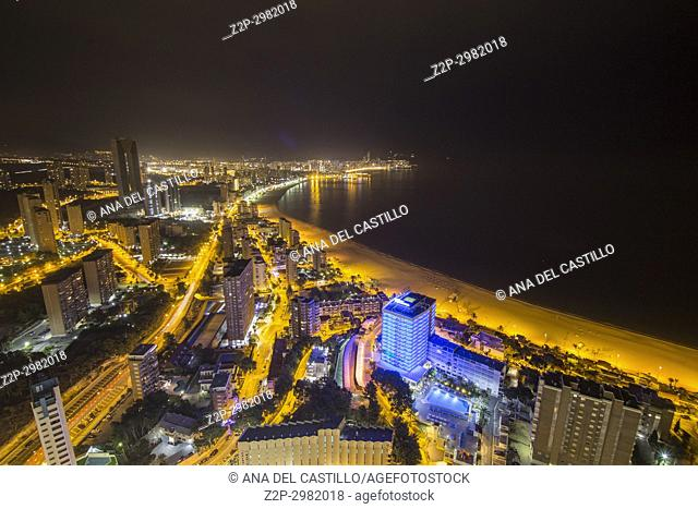 Aerial view of Benidorm by night in Alicante province Spain