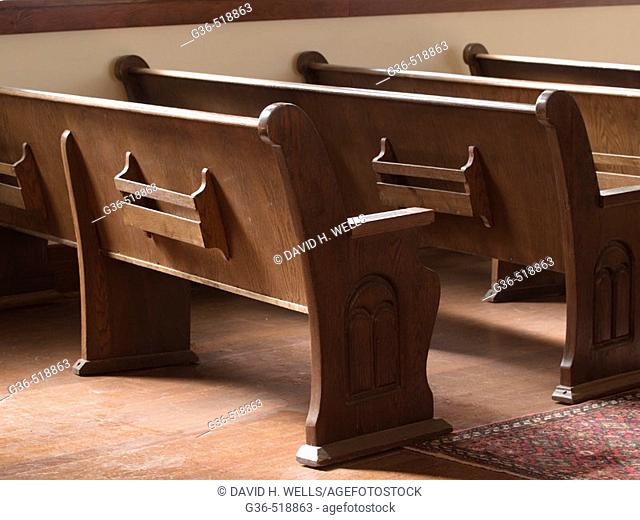 Pews (or benches/seats) in a historic Jewish Synagaogue in Tucson, Arizona