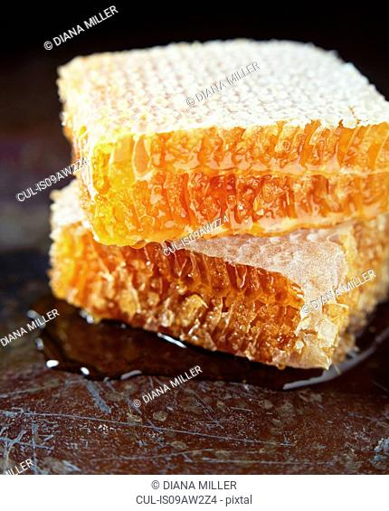 Stack of honeycomb on scratched surface