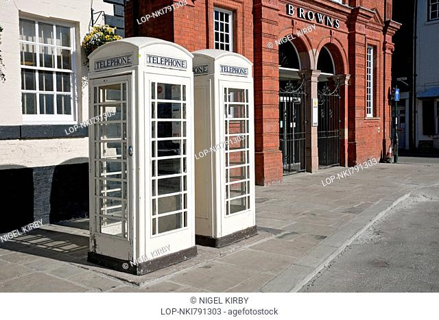 England, East Yorkshire, Beverley. Cream telephone boxes in Beverley