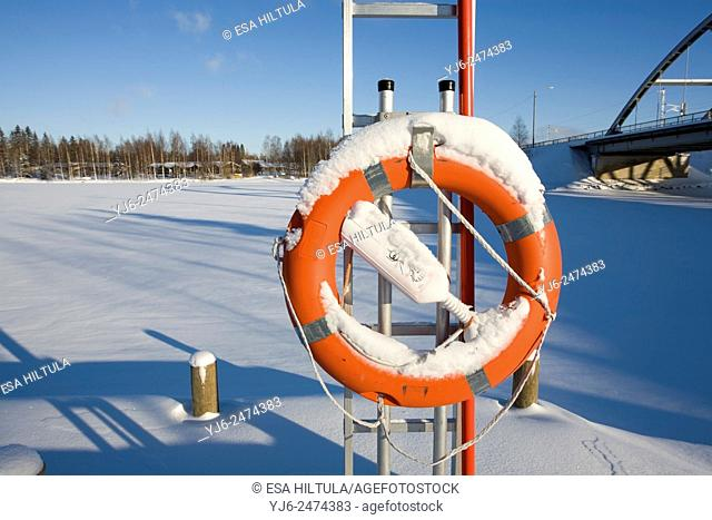 snowy life belt, Finland