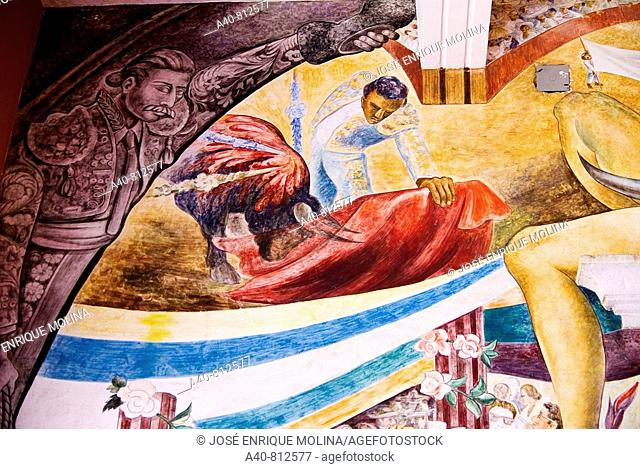 Mexico.Aguascalientes.Palace of Gobierno.Murals of  O. Barra Cunningham.Representation of a bullfight