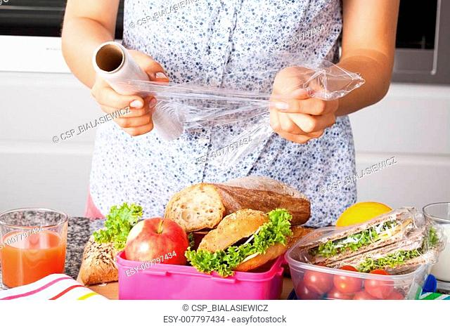 Packing food for lunch