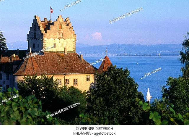 Castle at lakeside, Meersburg, Baden-Wuerttemberg, Lake Constance, Germany