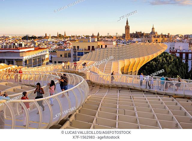 Top of Metropol Parasol,in Plaza de la Encarnación,in background the cathedral,Sevilla,Andalucía,Spain