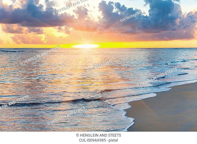 Seascape with sunrays at sunset, Dominican Republic, The Caribbean