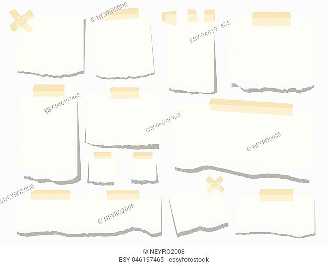 Blank paper torn page notes. Office notepaper sheets isolated on white background. Collection of template paper sticker. Vector illustration