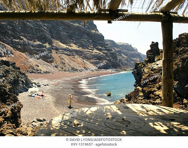 El Hierro, Canary Islands  The red black volcanic sand beach of the Playa del Verodal is the largest on the island