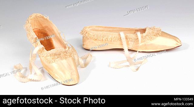 Evening slippers. Designer: Hobbs; Date: 1845-65; Culture: British; Medium: silk; Credit Line: Brooklyn Museum Costume Collection at the museum