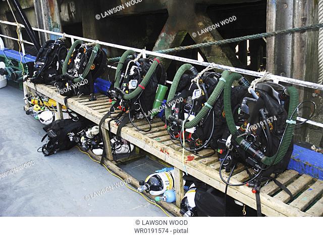 Scuba Diving Equipment on board dive boat, Scapa Flow, Orkney islands, Scotland, UK