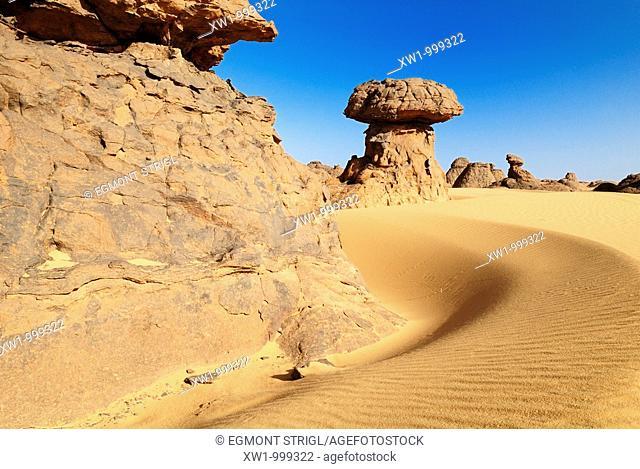 rock formation at Youf Ahakit, Tassili du Hoggar, Wilaya Tamanrasset, Sahara Desert, Algeria, North Africa