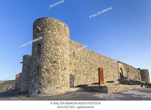 Armenia, Khor Virap, Khor Virap Monastery, 6th century, outer wall with khachkar memorial stone, morning