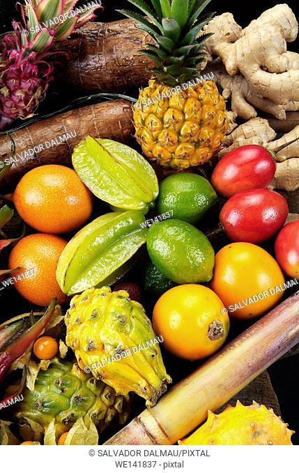 Variety of tropical fruits, photography studio, flashes, population Girona, Catalonia, Spain, Europe