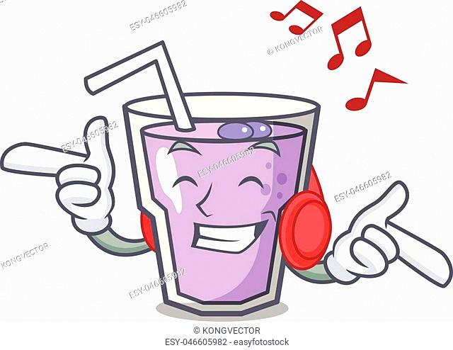Listening music berry smoothie mascot cartoon vector illustration