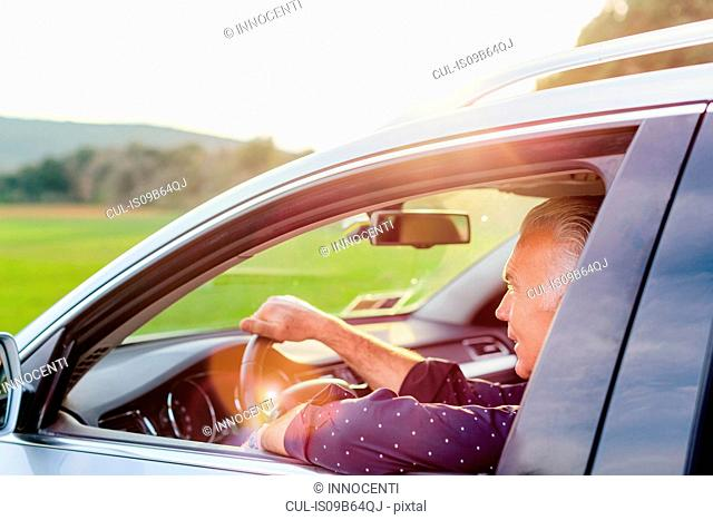 Senior male tourist driving car, Siena, Tuscany, Italy