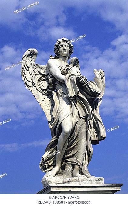 Statue of a saint on Ponte Sant' Angelo Rome Lazio Italy Aelian Bridge