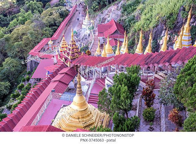 Myanmar, Pindaya, stairs leading to Shwe Oo Min cave