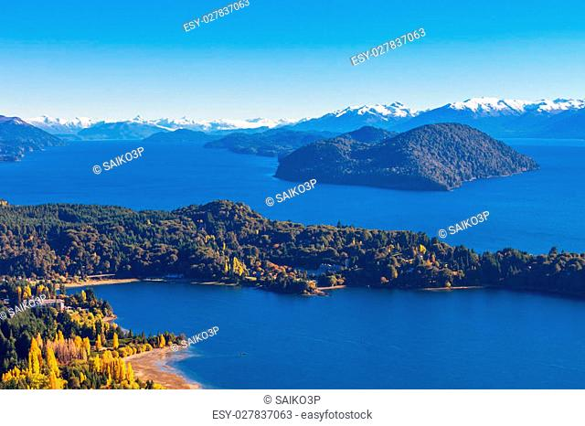 Nahuel Huapi National Lake aerial view from the Cerro Campanario viewpoint in Bariloche, Patagonia region of Argentina